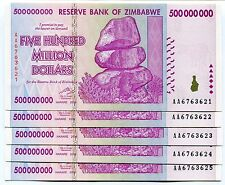 ZIMBABWE 2008 500 MILLION  MONEY BANKNOTE UNC - P 82 - CURRENCY AA x 5 PIECES