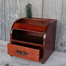 Stiftehalter Schreibtisch Organizer Holz braun Sekretär Stifteköcher Antik Optik