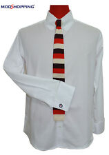 Men's Modshopping White Tab Collar Shirt size L.