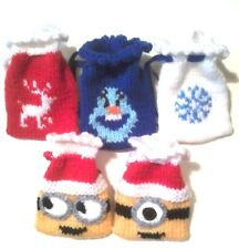 christmas gift bags knitting pattern, minions and frozen