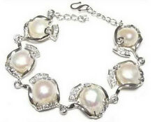 Genuine Natural White Baroque Pearl White Gold Plated Link Clasp Bangle Bracelet