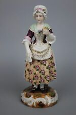Antique 19C Dresden Volkstedt figurine Woman with Flower WorldWide