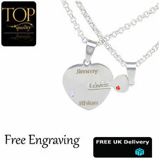 Lock & Key Of Love Personalised Necklace Any Names Engraved Silver Jewellery UK