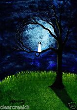 SIAMESE CAT Seal Point Blue Outsider folk Art PRINT Todd Young MOONLIGHT TREE