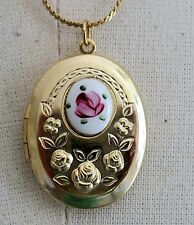 #B73 Vintage Sarah Coventry Guilloche Necklace Locket Rose Gold hand painted