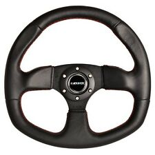 """Sport Leather steering wheel """"D"""" Shape with RED Stitching Can AM Commander"""