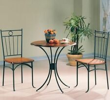 3 Piece Black Metal and Wood Oak Finish Bistro Dining Table Set by Coaster 5939