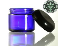 Cobalt Blue Glass Straight Sided Kitchen / Apothecary / Herb Jars 2 oz (4 pack)