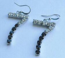 boucles d'oreille percée couleur argent 7 cristal diamant saphir  4564