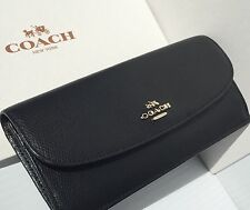 NEW* COACH Wallet Soft Leather Black Slim Snap Zip CARRIAGE logo F52689  NWT