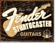 Vintage Replica Tin Metal Sign Fender Guitar Stratocaster 60 years amp 1954 1994