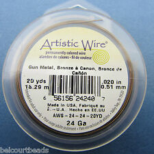 "Gun Metal Bronze Artistic Wire 24 Ga (.20"") 10 Yards (9.14m) Permanent Color"