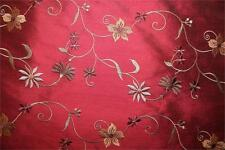 "Embroidered Silk Dupioni ~ Glens of Antrim Collection ~ Garnet ~ 54"" wide"