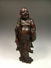 Exquisite and Rare Large Chinese Antique Wood Carving of a Happy Buddha Hotei