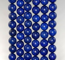 8MM BLUE JADE GEMSTONE LAPIS BLUE ROUND LOOSE BEADS 15""