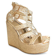 NEW $708 JIMMY CHOO Parody Braided Leather Wedge Sandals - Gold - Size 41
