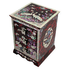 Mother of Pearl Inlay Red Lacquer Wood Jewelry Trinket Drawer Keepsake Box Case