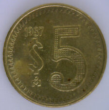 1987 Brass Mexico 5 Pesos Mexican Currency Coin UNC