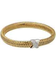 Roberto Coin 18K Y/G & W/G Primavera Mesh Diamond Bangle 557723AJBAX MSRP $2,900