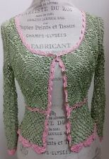 Betsey Johnson Green Pink Crochet Rayon Sweater Size M