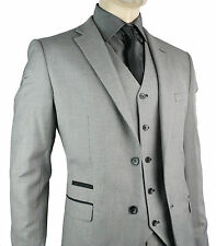 Men's Slim Fit Suit Grey Black Trim 3 Piece Work Office or Wedding Party Suit
