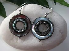 925 Sterling Silver Abalone Shell Hook Earrings FREE P&P