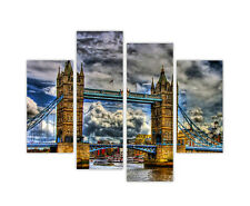 LONDON CITY PRINTS TOWER BRIDGE CANVAS WALL ART PICTURES FRAMED 4 PIECE POSTER