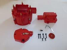 6 CYLINDER HEI Distributor Cap, Coil Cover & Rotor Kit RED GM-CHEVY-FORD V6 &
