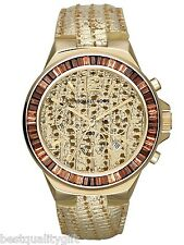 MICHAEL KORS GRAMERCY METALLIC PYTHON LEATHER+GOLD CHRONO+CRYSTALS WATCH MK2304