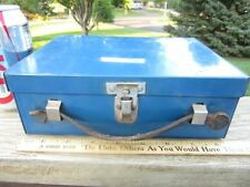 Vintage Blue Metal Divided Lunch Box  Leather Handle Old Farmhouse Barn 9""