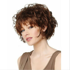 Full Short Womens Ladies Fashion Hair Wig Curly Dark Brown Shoulder Length Wigs