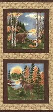 BIRCH BARK LODGE FABRIC BLOCKS PANEL by Holly Taylor Moda Bears Moose Northwoods