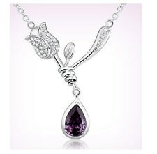 Silver Tone Purple Rose Amethyst Flower Pendant Chain Necklace Love Gift Box A9