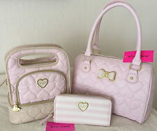 BETSEY JOHNSON BE MINE QUILTED HEARTS BLUSH SATCHEL WALLET LUNCH TOTE SET NWT