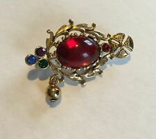 Vintage Golden Bead Cross Pin Brooch Red Purple Green Blue Jewels Maltese Iron