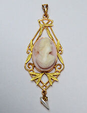 Antique Solid 14K Pink Conch Shell & Pearl Cameo Lavalier Pendant Victorian Gold