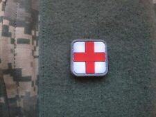 "PVC WHITE/Red MEDIC RED CROSS VELCRO PATCH RUBBER PARAMEDIC  1"" X 1"""