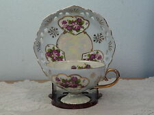 Lefton China Hand Painted Violets Footed Cup and Pierced Saucer Gold  Trim