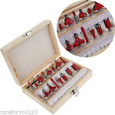 """15pcs 1/4"""" Shank Woodworking Tungsten Carbide Tipped Router Bits Wood Case Set"""