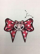 Pink Bows Skull Fangs Horror Girl Kreepsville Embroidered Iron On Applique Patch