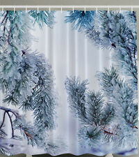 SNOWY PINE TREE EVERGREEN COLD CHRISTMAS WINTER THEMED NEW SHOWER CURTAIN