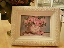 French shabby rose Wall Decor chic style 2/SIGN/PLAQUE glass frame