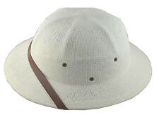MM Summer 100% Straw Pith Helmet Postman Hat White