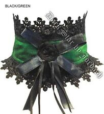 Dark Star Green Lace & Satin Rose Burlesque Gothic Victorian Choker Necklace