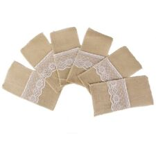 Naturel de hesse jute dentelle couverts titulaire pochette rustique mariage vaisselle X6