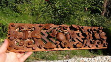 ANTIQUE 19c CHINESE ROSEWOOD CARVED PIERCED WALL PANEL PEACHES W/FLOWERS AROUND