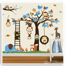 Monkey Owl Animal Wall Stickers Jungle Zoo Nursery Baby Bedroom Decals Art Mural