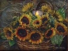 Sunflower Basket and Candles Flickering Light Picture 12072 NEW 6hr Timer