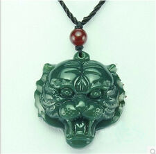 Natural Hand-Carved Chinese Tiger-head Hetian Jade Necklace Pendant Lucky Amulet