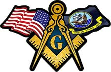 """1 - 8"""" Wide American & Navy Flags Masonic Compass Square Decal Sticker 086,8W"""